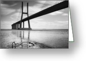 Portugal Art Greeting Cards - Vasco da Gama Bridge I Greeting Card by Nina Papiorek