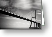 Portugal Art Greeting Cards - Vasco da Gama Bridge II Greeting Card by Nina Papiorek