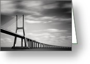 Portugal Art Greeting Cards - Vasco da Gama Bridge III Greeting Card by Nina Papiorek