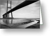 Portugal Art Greeting Cards - Vasco da Gama Bridge IV Greeting Card by Nina Papiorek