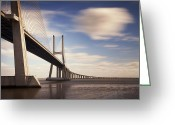 Portugal Art Greeting Cards - Vasco da Gama Bridge V Greeting Card by Nina Papiorek