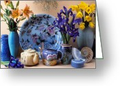 Iris Greeting Cards - Vase and plate still life Greeting Card by Garry Gay