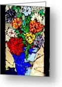 Flowers Glass Art Greeting Cards - Vase of Flowers Greeting Card by Brenda Marik-schmidt