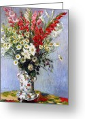 Vase Of Flowers Greeting Cards - Vase of Flowers Greeting Card by Claude Monet