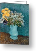 Post-impressionist Greeting Cards - Vase of Flowers Greeting Card by Vincent Van Gogh