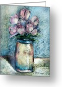 Tulips Pastels Greeting Cards - Vase Of Pink Tulips Greeting Card by Arline Wagner