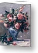 Pierre Auguste (1841-1919) Greeting Cards - Vase of Roses Greeting Card by Pierre Auguste Renoir