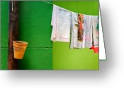 Daily Life Greeting Cards - Vase towels and green wall Greeting Card by Silvia Ganora