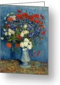 Post-impressionist Greeting Cards - Vase with Cornflowers and Poppies Greeting Card by Vincent Van Gogh