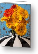 Vases Greeting Cards - Vase with gerbera daisies  Greeting Card by Garry Gay