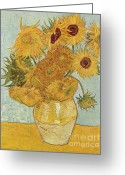 Van Painting Greeting Cards - Vase with Twelve Sunflowers Greeting Card by Extrospection Art
