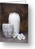 Gerber Greeting Cards - Vases with Daisies I Greeting Card by Tom Mc Nemar