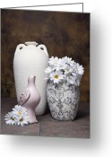 Pottery Photo Greeting Cards - Vases with Daisies II Greeting Card by Tom Mc Nemar