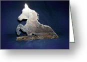 Animal Sculpture Sculpture Greeting Cards - Vash in the Tall Grass Greeting Card by George Pedro