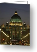 Vatican City Greeting Cards - Vatican, Rome, Italy.  Night View Greeting Card by Richard Nowitz