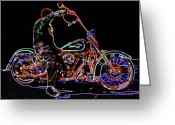 Vato Digital Art Greeting Cards - Vato n Harley Aglow Greeting Card by Kimberley Joy Ferren