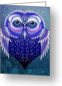 Owl Digital Art Greeting Cards - Vector Owl Greeting Card by Julie L Hoddinott