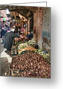 Souk Greeting Cards - Veg alley Greeting Card by Marion Galt