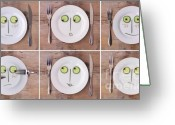 Wooden Board Greeting Cards - Vegetable Faces Greeting Card by Nailia Schwarz