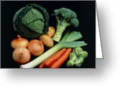 Selection Greeting Cards - Vegetable Selection Greeting Card by Damien Lovegrove