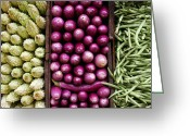 Gourmet Vegetable Greeting Cards - Vegetable triptych Greeting Card by Jane Rix