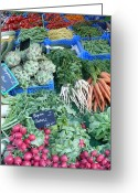 Farmers Markets Greeting Cards - Vegetables at German Market Greeting Card by Carol Groenen