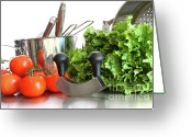 Stainless Steel Greeting Cards - Vegetables with kitchen pots and utensils on white  Greeting Card by Sandra Cunningham