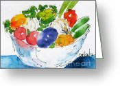 South Seas Greeting Cards - Veggie Bowl Greeting Card by Pat Katz