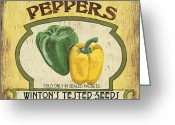 Peppers Greeting Cards - Veggie Seed Pack 2 Greeting Card by Debbie DeWitt