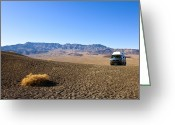 Vacation Destination Greeting Cards - Vehicle in Desert Landscape Greeting Card by David Buffington