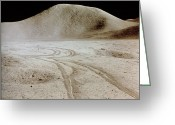 Moon Surface Greeting Cards - Vehicle Tracks On Moon Surface Greeting Card by NASA / Science Source