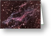 Outerspace Greeting Cards - Veil Nebula In Cygnus Greeting Card by USNO / Science Source