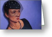 Hat Greeting Cards - Veiled Greeting Card by James W Johnson