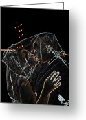 Neon Art Greeting Cards - Veiled Kiss Greeting Card by Carolyn Marshall