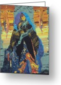 Woman Tapestries - Textiles Greeting Cards - Veiled Woman with Spirit Child Greeting Card by Roberta Baker