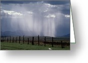 Wood Fences Greeting Cards - Veils Of Rain Stream From Sunlit Clouds Greeting Card by George Grall