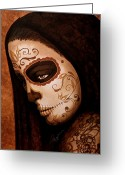 Face Greeting Cards - Velo de la Tristeza Greeting Card by Al  Molina