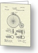 Bicycle Art Greeting Cards - Velocipede Latta 1888 Patent Art Greeting Card by Prior Art Design