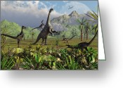 Theropod Greeting Cards - Velociraptor Dinosaurs Attack Greeting Card by Mark Stevenson