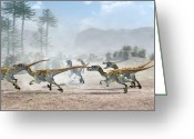 Dinosaurs Greeting Cards - Velociraptor Dinosaurs Greeting Card by Jose Antonio PeÑas