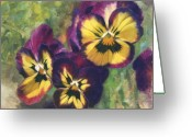 "\""floral Still Life\\\"" Greeting Cards - Velvet Clowns I Greeting Card by Anna Bain"