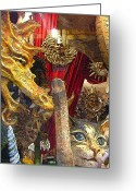 Puppet Greeting Cards - Venetian Animal Masks Greeting Card by Mindy Newman
