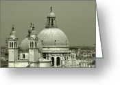 Historical Site Greeting Cards - Venetian Basilica Salute Greeting Card by Julie Palencia