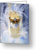 Costumes Painting Greeting Cards - Venetian Beauty Greeting Card by Leonardo Ruggieri