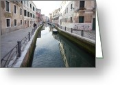 Old Out Houses Greeting Cards - Venetian Canal - Selective Focus  Greeting Card by Tilman Winkler