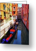 Gondola Digital Art Greeting Cards - Venetian Canal Greeting Card by Jeff Kolker