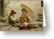 Laying Down Greeting Cards - Venetian Children Greeting Card by Antonio Paoletti