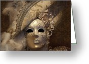 Old-fashion Digital Art Greeting Cards - Venetian Face Mask F Greeting Card by Heiko Koehrer-Wagner