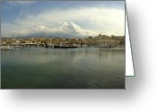 Crete Greeting Cards - Venetian Harbour Hania Greeting Card by Robert Lacy