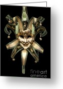 Macro Greeting Cards - Venetian mask Greeting Card by Fabrizio Troiani